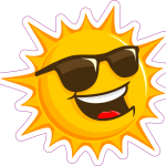 Smiling cartoon sun wearing sunglasses