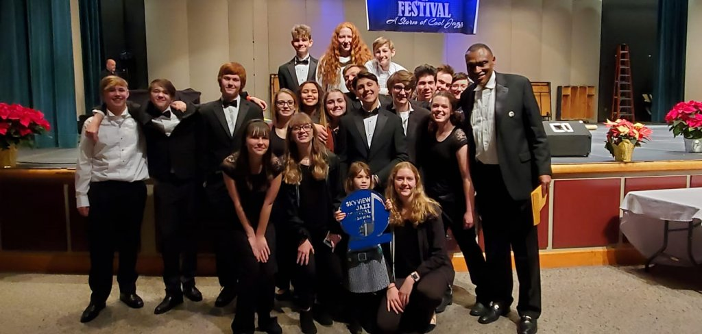 Students in Battle Ground High School's Advanced Jazz Band with director Greg McKelvey