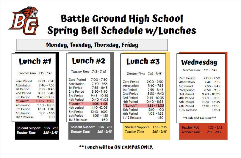 BGHS spring bell schedule 2021